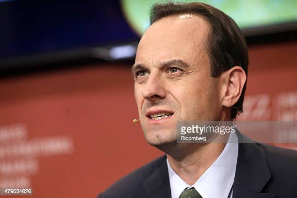 Mark Branson chief executive officer of the Swiss Financial Market Supervisory Authority speaks during the Swiss International Finance Forum in Bern...