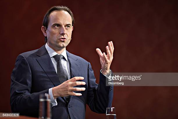 Mark Branson chief executive officer of the Swiss Financial Market Supervisory Authority gestures as he speaks during the Swiss International Finance...