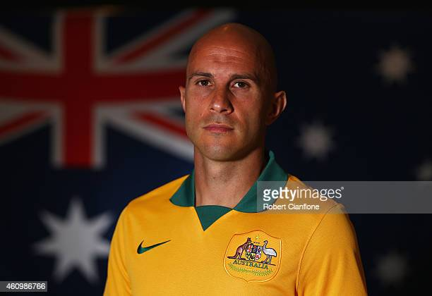 Mark Bresciano of Australia poses during an Australian Socceroos headshot session at the InterContinental Hotel on January 3 2015 in Melbourne...