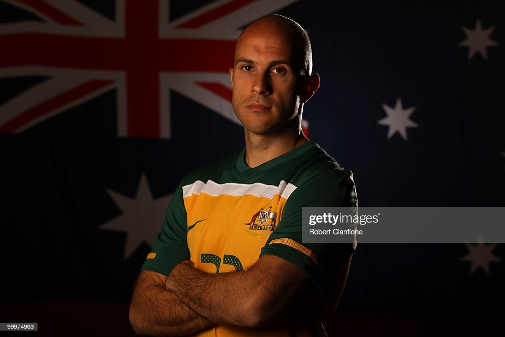 Mark Bresciano of Australia poses for a portrait during an Australian Socceroos portrait session at Park Hyatt Hotel on May 19, 2010 in Melbourne, Australia.