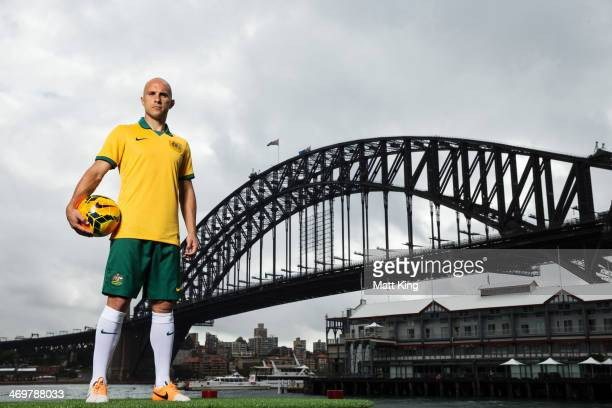 88ecf696fcb Mark Bresciano poses during the Australian Socceroos 2014 FIFA World Cup  kit launch on February 17