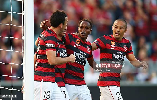 Mark Bridge Brendon Santalab Youssouf Hersi and Shinji Ono of the Wanderers celebrate a goal during the round 16 ALeague match between the Western...