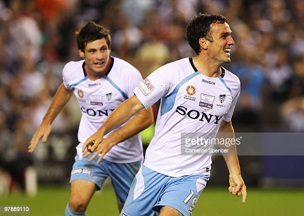 Mark Bridge of Sydney FC celebrates scoring a goal during the ALeague Grand Final match between the Melbourne Victory and Sydney FC at Etihad Stadium...