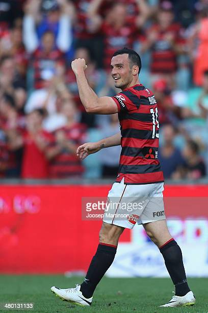 Mark Bridge of the Wanderers celebrates his goal during the round 24 ALeague match between the Western Sydney Wanderers and Perth Glory at Parramatta...