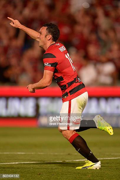 Mark Bridge of the Wanderers celebrates scoring a goal during the round 12 ALeague match between the Western Sydney Wanderers and Newcastle Jets at...