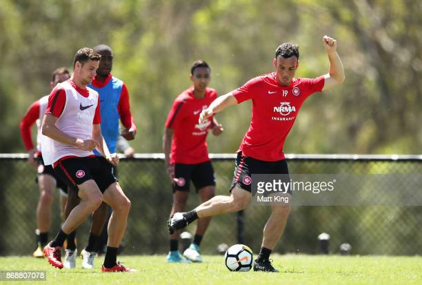 Mark Bridge of the Wanderers controls the ball during a Western Sydney Wanderers ALeague training session at Blacktown International Sportspark on...
