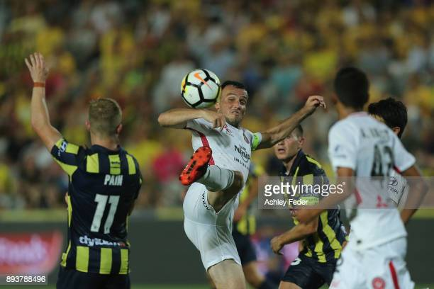 Mark Bridge of the Wanderers in action during the round 11 ALeague match between the Central Coast and the Western Sydney Wanderers at Central Coast...