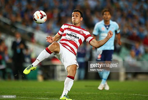 Mark Bridge of the Wanderers in action during the round three ALeague match between Sydney FC and the Western Sydney Wanderers at Allianz Stadium on...