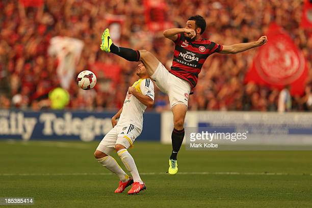 Mark Bridge of the Wanderers kicks during the round two A-League match between the Western Sydney Wanderers and Wellington Phoenix at Parramatta...