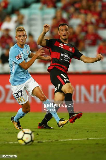 Mark Bridge of the Wanderers kicks the ball to score a goal during the round 13 ALeague match between the Western Sydney Wanderers and Melbourne City...
