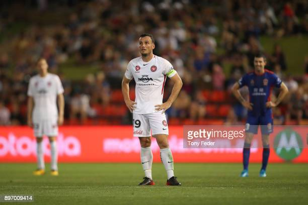 Mark Bridge of the Wanderers looks dejected after losing to the Jets during the round 12 ALeague match between the Newcastle Jets and the Western...