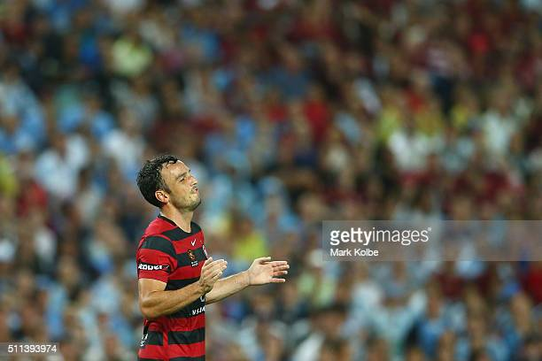 Mark Bridge of the Wanderers reacts after a missed shot on goal during the round 20 ALeague match between Sydney FC and the Western Sydney Wanderers...
