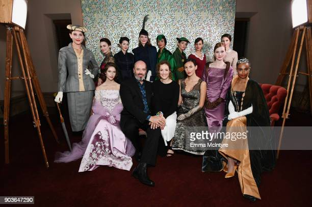 Mark Bridges and Vicky Krieps with models attend Vanity Fair And Focus Features Celebrate The Film 'Phantom Thread' with Paul Thomas Anderson at the...