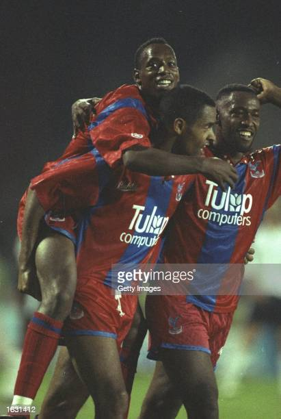 Mark Bright Andy Gray and Ian Wright of Crysytal Palace celebrate a goal during a Barclays League Division One match against Wimbledon at Selhurst...