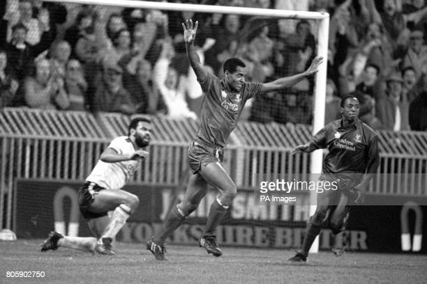 Mark Bright celebrates scoring the opening goal for Crystal Palace Also pictured is Stoke City's George Berry and Crystal Palace's Ian Wright