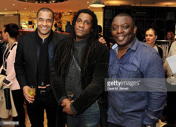Mark Bright guest and Garth Crooks attend as Jazzie B launches the Soul II Soul 'Classics' Collection at Harvey Nichols on April 11 2013 in London...