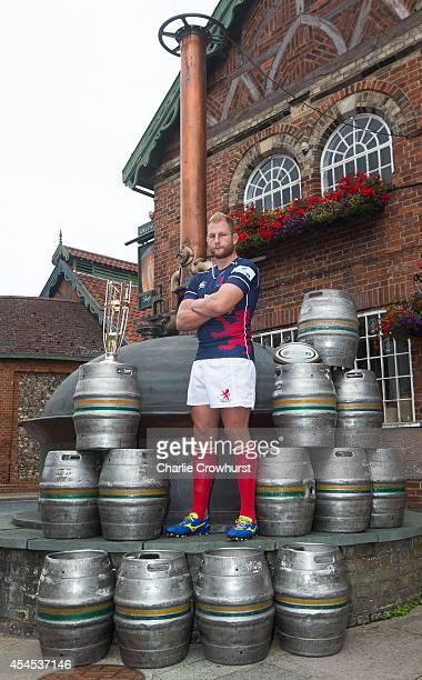 Mark Bright of London Scottish poses for a photo during the 2014/15 Greene King IPA Championship Captains photocall at Greene King IPA brewery on...