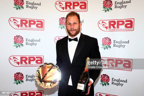 Mark Bright poses with his Greene King IPA Championship Player of The Year award during the RPA Players' Awards 2017 at Battersea Evolution on May 10...