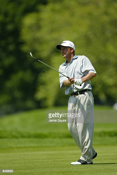 Mark Brooks hits his third shot on the sixth hole during the first round of the Canon Greater Hartford Open at TPC River Highlands in Cromwell...