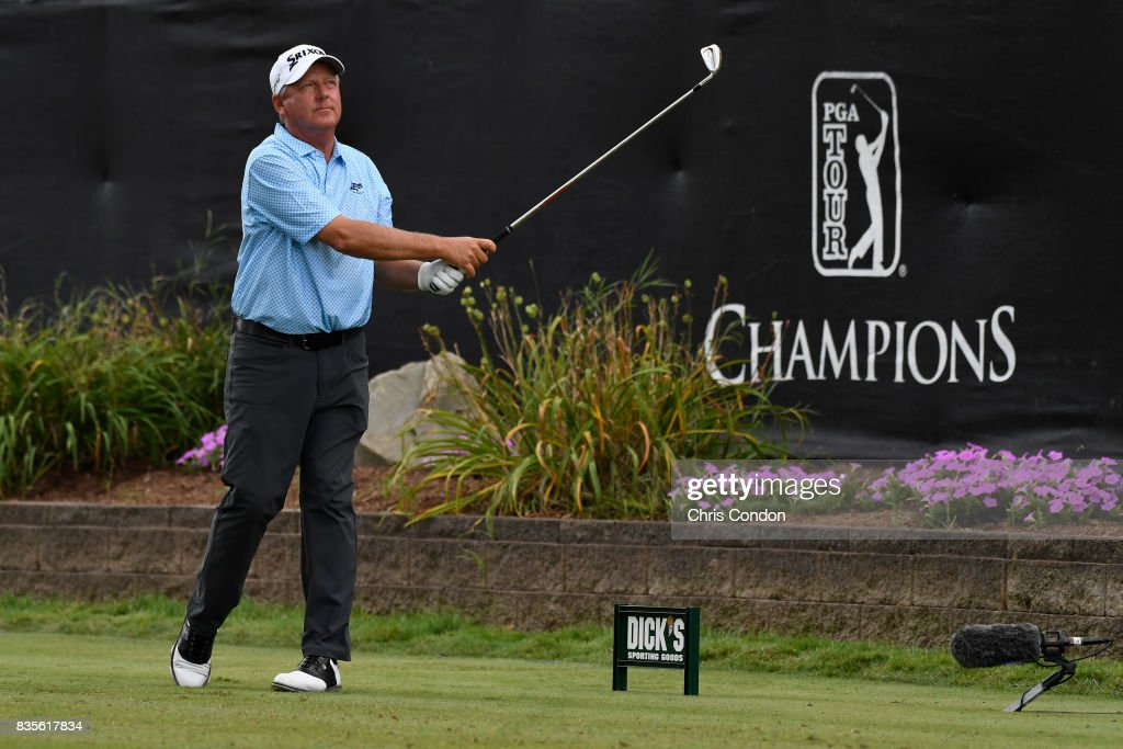 Mark Brooks tees off on the 17th hole during the second round of the PGA TOUR Champions DICK'S Sporting Goods Open at En-Joie Golf Course on August 19, 2017 in Endicott, New York.