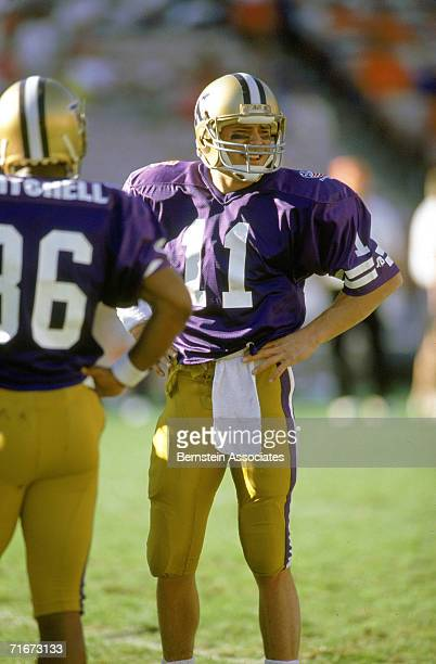 d26193332 Mark Brunell of the Washington Huskies stands on the field during a game  against the Florida