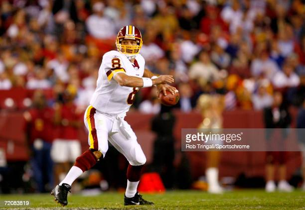Mark Brunell of the Washington Redskins looks to pass against the Minnesota Vikings on September 11, 2006 at FedExField in Landover, Maryland. The...
