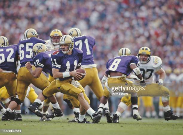 Mark Brunell, Quarterback for the University of Washington Huskies during the NCAA 79th Rose Bowl college football game against the University of...