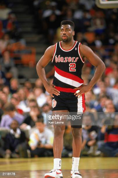 Mark Bryant of the Portland Trail Blazers walks on the court during the 19891990 NBA season game at the Great Western Forum in Los Angeles California
