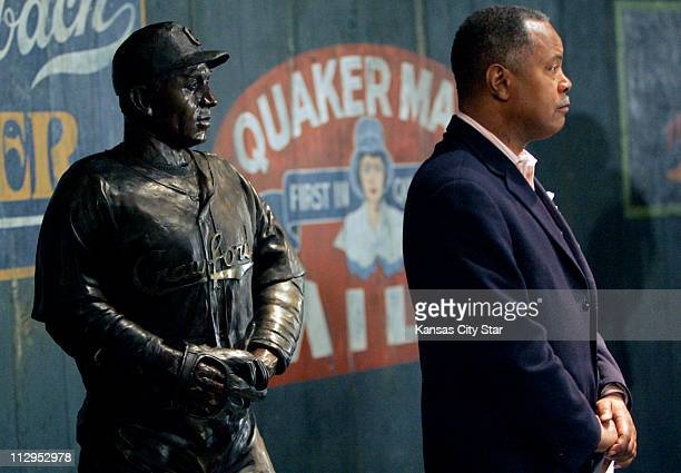 Mark Bryant the president of the Negro Leagues Baseball Museum's board of directors stands near the statue of Oscar Charleston inside the museum on...