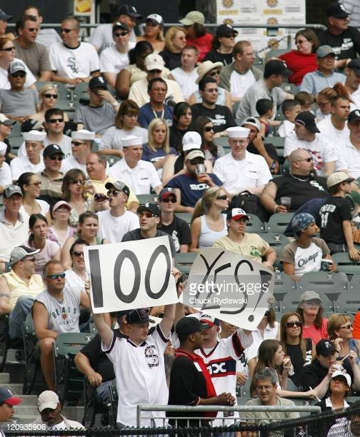 Mark Buehrle fans cheer their hero who was in pursuit of his 100th Major League win in the Interleague game between the Chicago White Sox and the...