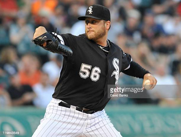 Mark Buehrle of the Chicago White Sox pitches against the Detroit Tigers on July 25 2011 at US Cellular Field in Chicago Illinois