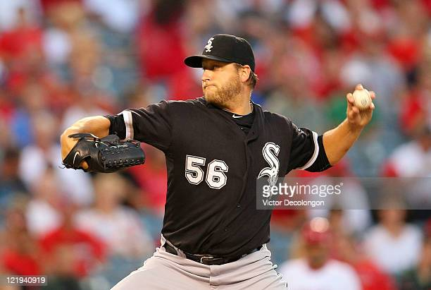 Mark Buehrle of the Chicago White Sox pitches against the Los Angeles Angels of Anaheim in the first inning at Angel Stadium of Anaheim on August 23...