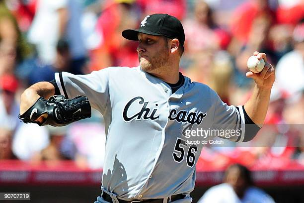 Mark Buehrle of the Chicago White Sox pitches against the Los Angeles Angels of Aneheim at Angel Stadium on September 13 2009 in Anaheim California