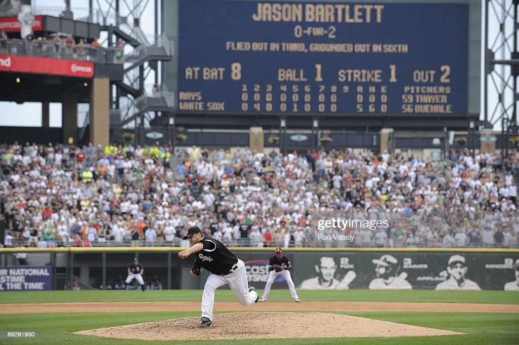 Mark Buehrle #56 of the Chicago White Sox pitches in the top of the ninth inning against the Tampa Bay Rays on July 23, 2009 at U.S. Cellular Field in Chicago, Illinois. Buehrle pitched the 18th perfect game in major league baseball history as the White Sox defeated the Rays 5-0.