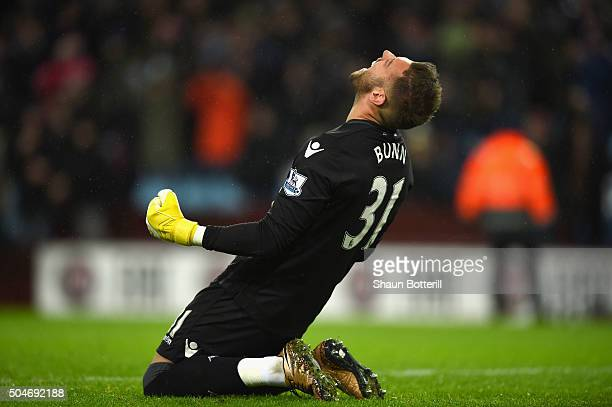 Mark Bunn of Aston Villa celebrates victory after during the Barclays Premier League match between Aston Villa and Crystal Palace at Villa Park on...