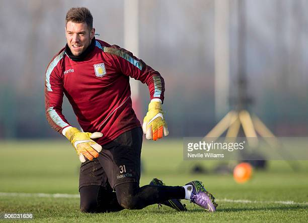 Mark Bunn of Aston Villa in action during a Aston Villa training session at the club's training ground at Bodymoor Heath on January 22 2016 in...