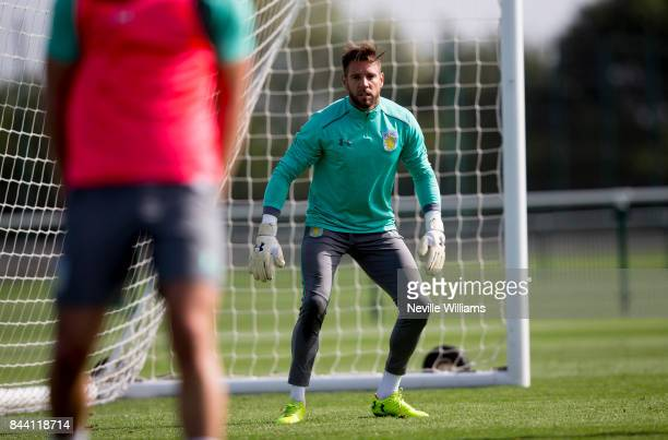 Mark Bunn of Aston Villa in action during a training session at the club's training ground at Bodymoor Heath on September 08 2017 in Birmingham...