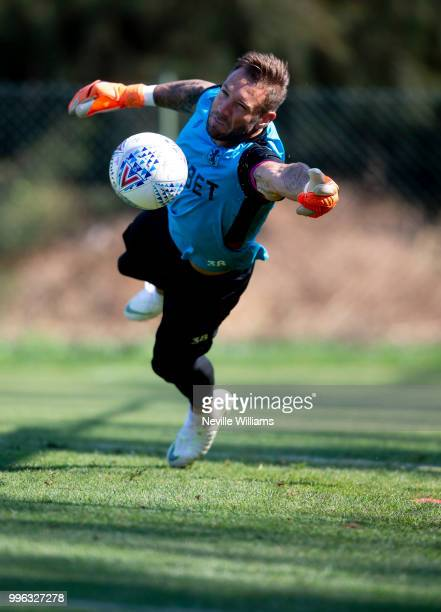 Mark Bunn of Aston Villa in action during an Aston Villa training session at the club's training camp on July 11 2018 in Faro Portugal
