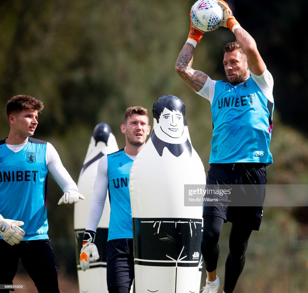 Mark Bunn of Aston Villa in action during an Aston Villa training session at the club's training camp on July 12, 2018 in Faro, Portugal.