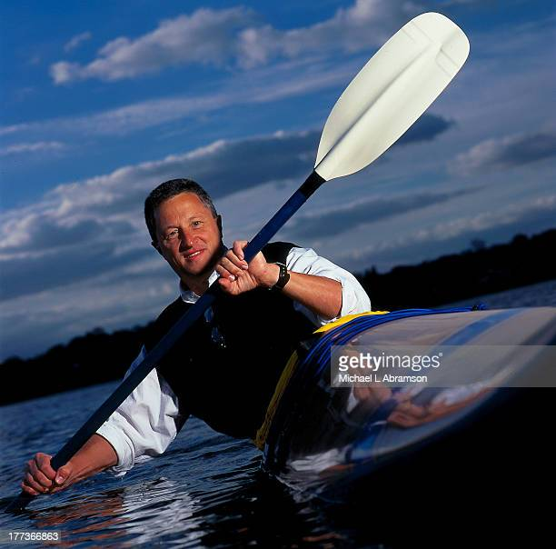Mark Burliss of Great Lakes Chemical in kayak undated