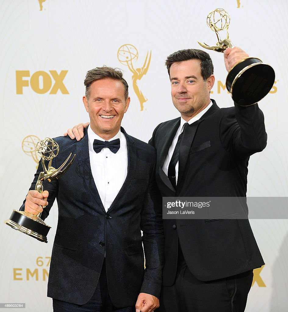 Mark Burnett and Carson Daly pose in the press room at the 67th annual Primetime Emmy Awards at Microsoft Theater on September 20, 2015 in Los Angeles, California.
