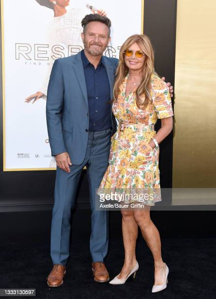 """Mark Burnett and Roma Downey attend the Los Angeles Premiere of MGM's """"Respect"""" at Regency Village Theatre on August 08, 2021 in Los Angeles,..."""