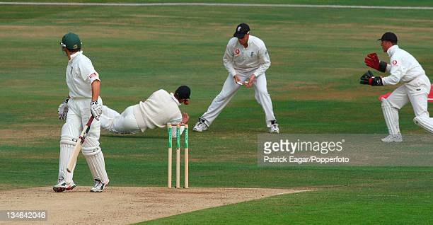 Mark Butcher drops McKenzie off Flintoff England v South Africa 4th Test Headingley Aug 03