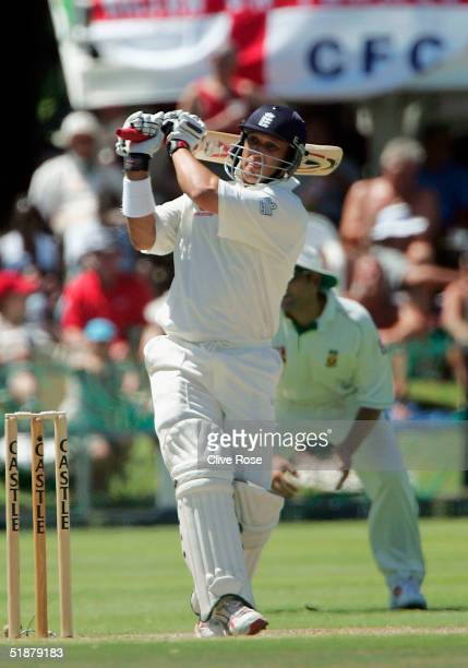 Mark Butcher of England in action during day three of the first Test Match between South Africa and England at St.Georges Park on December 19, 2004...