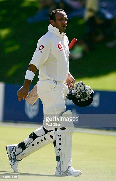 Mark Butcher of England looks dejected after being given out off the bowling of Charl Willoughby of South Africa during the second day of the three...
