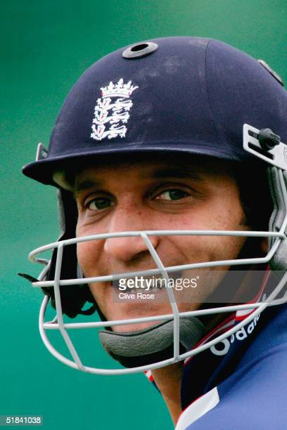 Mark Butcher of England shares a smile during the nets session prior to the first test match between South Africa and England at the Wanderers...