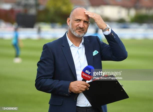 Mark Butcher of Sky television looks on before the 1st One Day International match between England and New Zealand at Bristol County Ground on...
