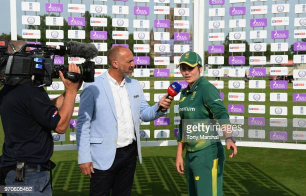 Mark Butcher of Sky TV interviews Dane Van Neikerk of South Africa during the 1st ODI: ICC Women's Championship match between England Women and South...