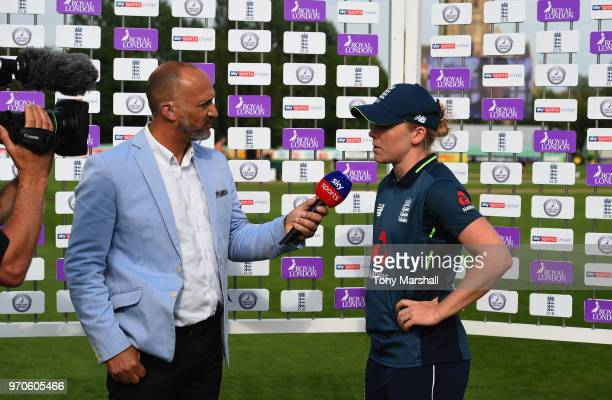 Mark Butcher of Sky TV interviews Heather Knight of England during the 1st ODI: ICC Women's Championship match between England Women and South Africa...