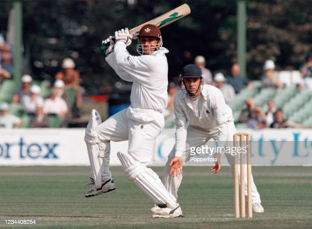 Mark Butcher of Surrey batting on day one of the County Championship match between Kent and Surrey at the St Lawrence Ground on September 18, 1997 in...